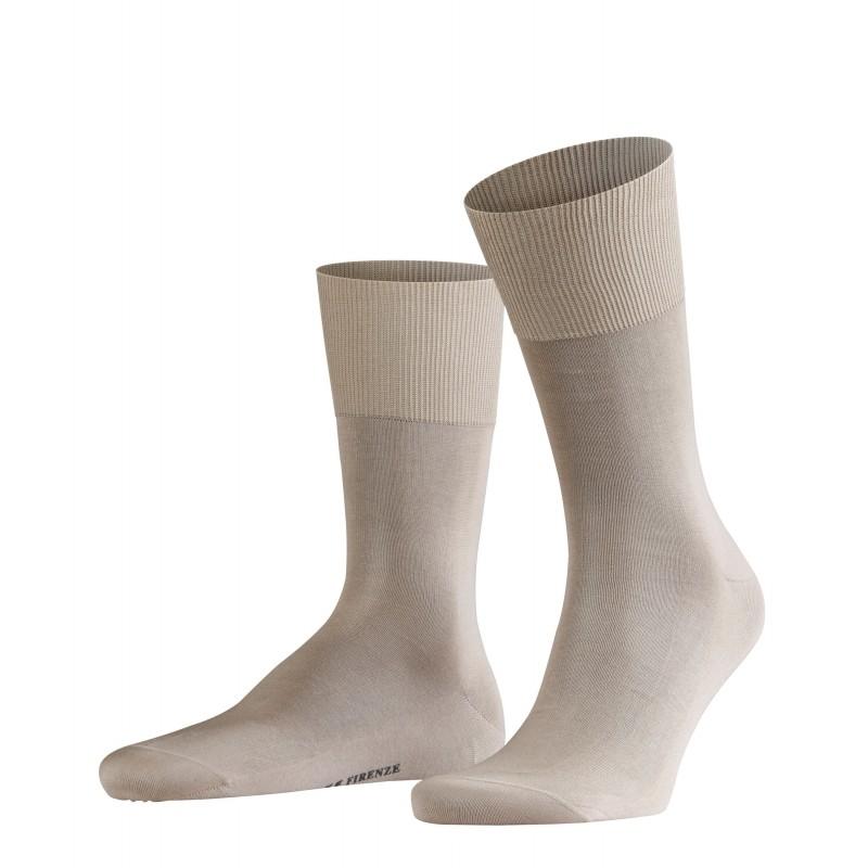 Ανοιχτό μπεζ αντρική κάλτσα Falke Firenze από βαμβάκι μερσεριζέ